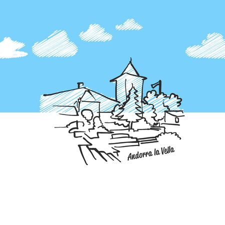 la: Andorra de la vella famous skyline sketch. Lineart drawing by hand. Greeting card icon with title. Vector Illustration Illustration