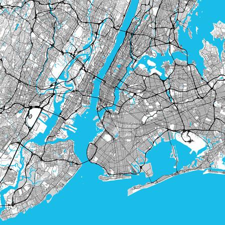 Carte de grande région de New York, Downtown Manhattan, Brooklyn, Jersay City dans de très riches détails. Fichier vectoriel très grand Vecteurs