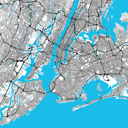 New York City Big Area Map, Downtown Manhattan, Brooklyn, Jersay City in Very rich details. Very Large Vector File Illustration