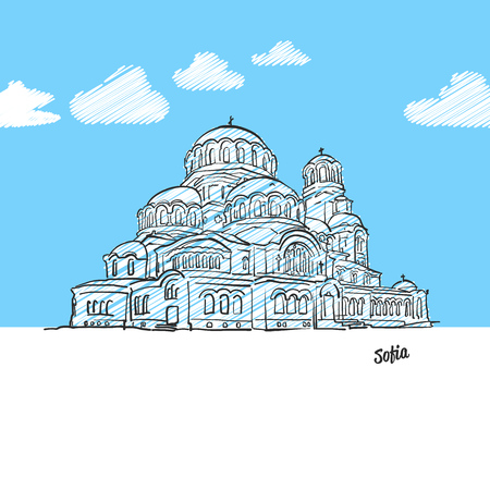 Sofia, Bulgaria famous landmark sketch. Lineart drawing by hand. Greeting card icon with title, vector illustration Illustration
