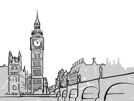 ロンドン、イギリスの有名な旅行記。手描きでラインアート。グリーティング カードのデザイン、ベクトル イラスト