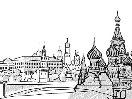 Moscow, Russia famous Travel Sketch. Lineart drawing by hand. Greeting card design, vector illustration