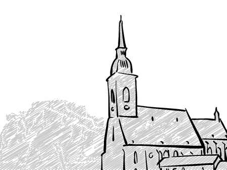 Bratislava, Slovakia famous Travel Sketch. Lineart drawing by hand. Greeting card design, vector illustration Illustration