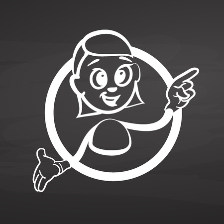 Stick woman finger pointing up. Drawing on chalkboard. Handdrawn vector sketch, clean outlines, vintage style blackboard.