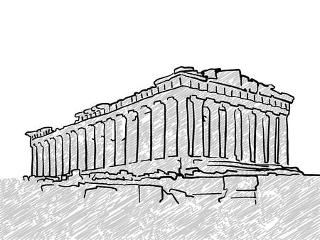 アテネ、ギリシャの有名な寺院のスケッチ。手描きでラインアート。グリーティング カードのデザイン、ベクトル イラスト  イラスト・ベクター素材
