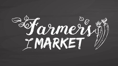 Farmers market lettering on chalkboard. Handdrawn vector sketch, clean outlines, vintage style blackboard.