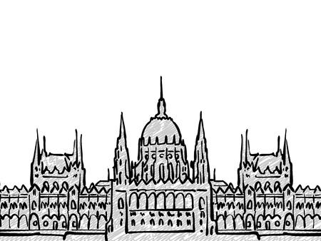 부다페스트, 헝가리 유명한 여행 스케치입니다. 손으로 그리는 Lineart. 인사말 카드 디자인, 벡터 일러스트 레이 션 일러스트