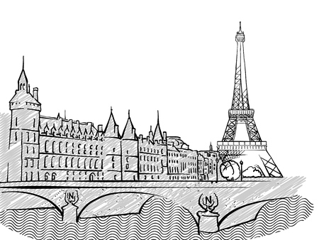Paris, France famous Travel Sketch. Lineart drawing by hand. Greeting card design, vector illustration 向量圖像