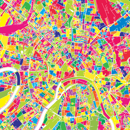 Moscow, Russia, colorful vector map.  White streets, railways and water. Bright colored landmark shapes. Art print pattern.
