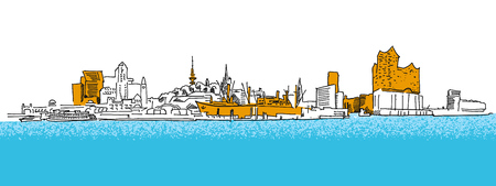 Hamburg Outline Panorama Sketch with colored details. Hand drawn historic landmark. Famous travel destination. Vector art sketch.