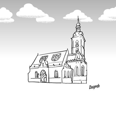 ザグレブ、クロアチアの有名なランドマークのスケッチ。手描きでラインアート。タイトル、ベクトル イラストのグリーティング カード アイコン