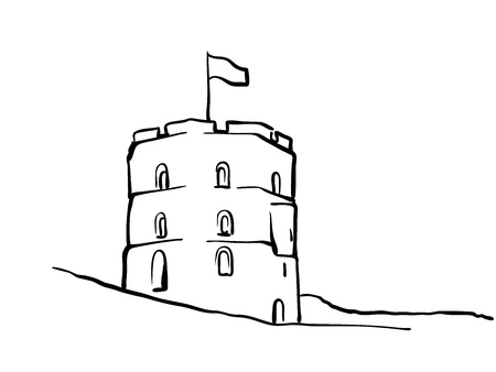 Vilnius, Lithuania famous Travel Sketch. Lineart drawing by hand. Greeting card design, vector illustration