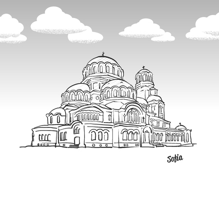 Sofia, Bulgaria famous landmark sketch. Lineart drawing by hand. Greeting card icon with title, vector illustration Ilustrace