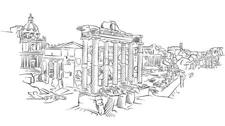 Ancien forum romain de Rome. Point de repère historique dessiné à la main. Destination de voyage célèbre. Croquis d'art vectoriel.