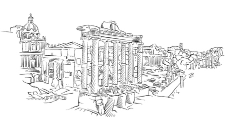 Ancient Rome roman forum. Hand drawn historic landmark. Famous travel destination. Vector art sketch.