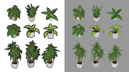 9 Isometric houseplants with and without black outline. 3D iso perspective. Ilustrace