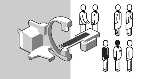 X-ray in OR Medical Equipment and clinical staff icons. 3D Isometric Perspective Abstract Illustration.
