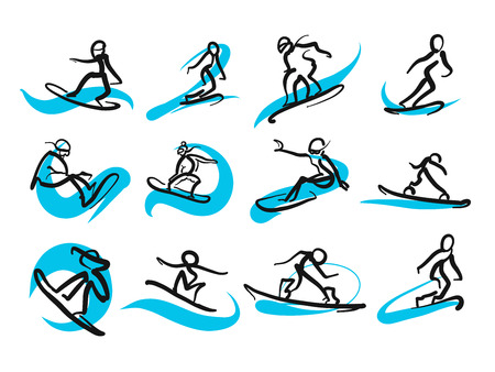 Set of sketched freestyle snowboarding people, hand-drawn vector illustration by two different pens. Black people in foreground, blue moving lines in background.