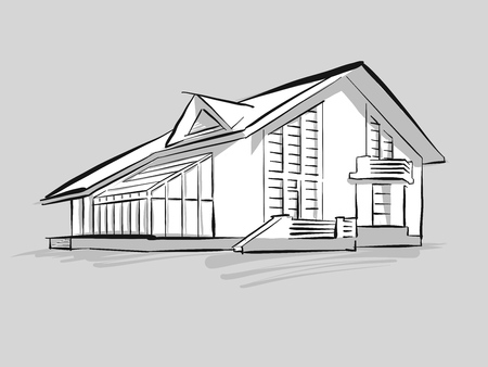 House with conservatory sketch. Concept Illustration, Hand drawn vector image. Çizim