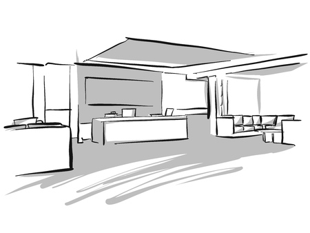 Office entry area design sketch, Concept Illustration, Hand drawn vector image. Vettoriali