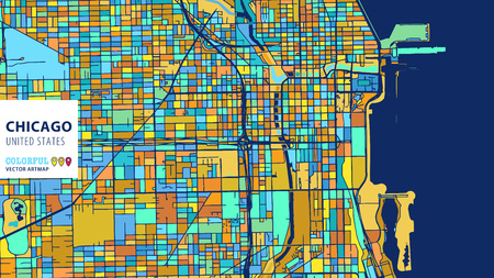 Chicago,United States, Colorful Vector Artmap;Blue-Orange-Yellow Version for Website Infographic, Wall Art and Greeting Card Backgrounds.