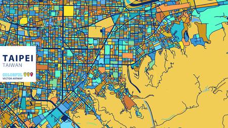 Taipei, Taiwan, kleurrijke vectorkunstmap. Blauw-oranje-gele versie voor Website Infographic, Wall Art en wenskaart achtergronden.