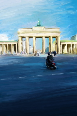 Oil Painting of Brandenburg Gate in Berlin. Digital Artwork taken from Photo. Sunny day. Blue surroundings and Scooter driver in foreground. 版權商用圖片