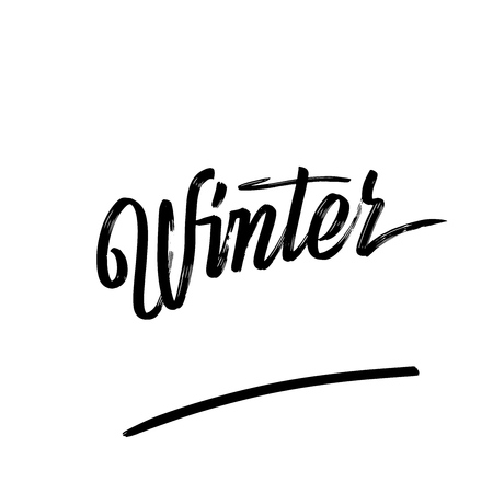 Winter written phrase, lettering by hand. Calligraphy vector sketch with thick brush pen. 일러스트
