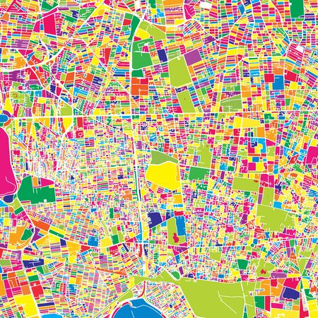 Tehran, Iran, colorful vector map.  White streets, railways and water. Bright colored landmark shapes. Art print pattern.
