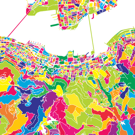 Hong Kong, China, colorful vector map.  White streets, railways and water. Bright colored landmark shapes. Art print pattern. Çizim
