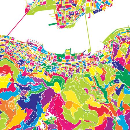 Hong Kong, China, colorful vector map.  White streets, railways and water. Bright colored landmark shapes. Art print pattern. Illustration