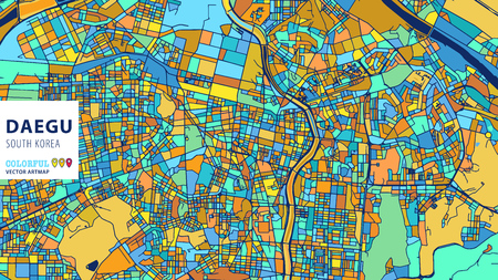 Daegu, Korea, South, Colorful Vector Art map. Blue Orange Yellow Version for Website Infographic, Wall Art and Greeting Card Backgrounds.