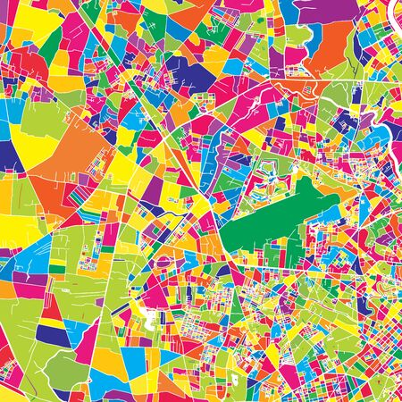 Ho Chi Minh City, Vietnam, colorful vector map.  White streets, railways and water. Bright colored landmark shapes. Art print pattern.