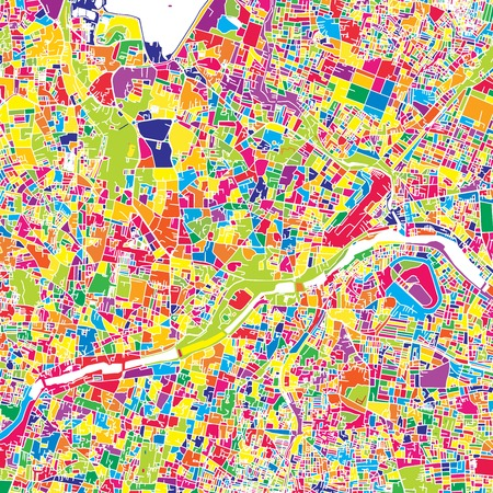 Hyderabad, India, colorful vector map.  White streets, railways and water. Bright colored landmark shapes. Art print pattern.