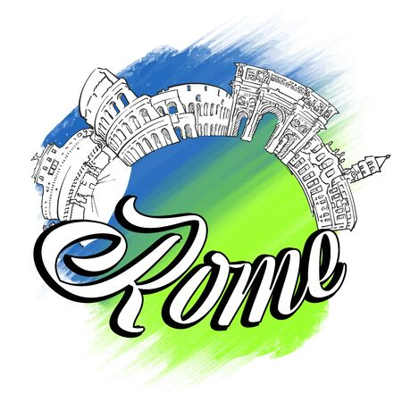 Rome Skyline Landmarks symbol. Travel vector sketch. Colored Background Çizim