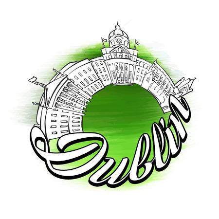 Dublin Panorama symbol Design. Travel skyline vector sketch.