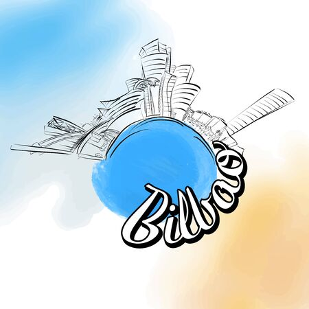 Bilbao colored landmark symbol . Travel skyline vector sketch.