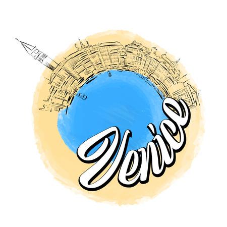 Venice colored landmark symbol . Travel skyline vector sketch.