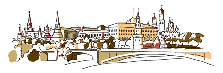 Moscow panorama illustration. Vector sketch Famous landmark.