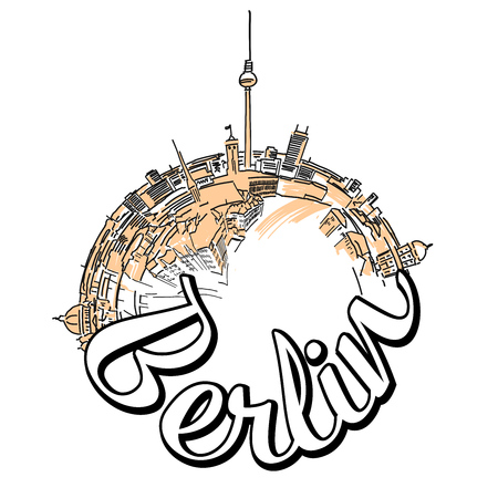 Berlin travel logo concept design. Colored skyline vector illustration with watercolor background and typo.