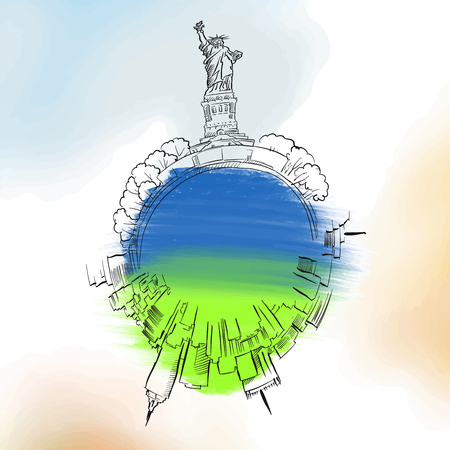 New York City travel logo. Colored skyline vector sketch Illustration