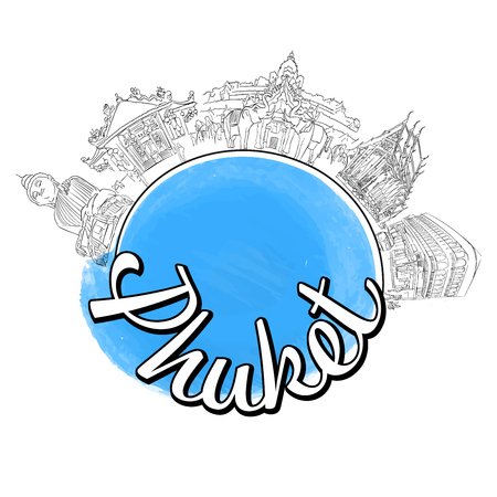Phuket travel logo sketch. Colored skyline vector illustration with watercolor background and typo.
