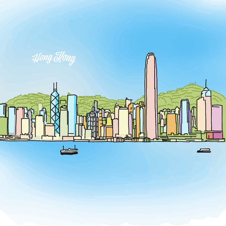 Hong Kong colored panorama banner. Layout for greeting card and banner design marketing sketch. Vectores