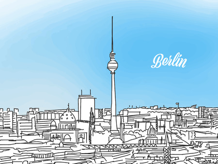 Berlin black and white panorama banner. Layout for greeting card and banner design, marketing sketch. Illusztráció