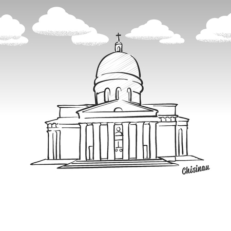 Chisinau, Moldova famous landmark sketch. Lineart drawing by hand. Greeting card icon with title, vector illustration