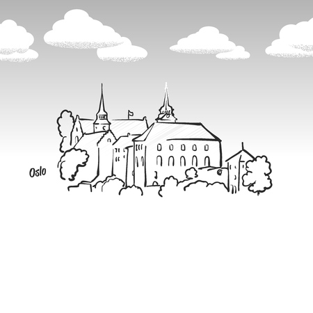 Oslo, Norway famous landmark sketch. Lineart drawing by hand. Greeting card icon with title, vector illustration