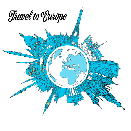 Travel to Europe Landmarks on Globe. Hand drawn outline illustration for print design and travel marketing Vectores
