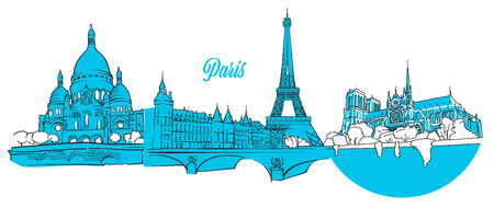 Paris Travel Landmarks Banner, hand drawn outline sketch for greeting card prints and marketing
