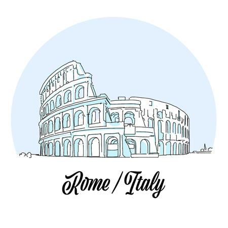 Rome Italy Landmark Sketch. Hand drawn outline illustration for print design and travel marketing