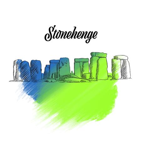 Stonehenge England Sketch, hand drawn outline illustration for print design and travel marketing